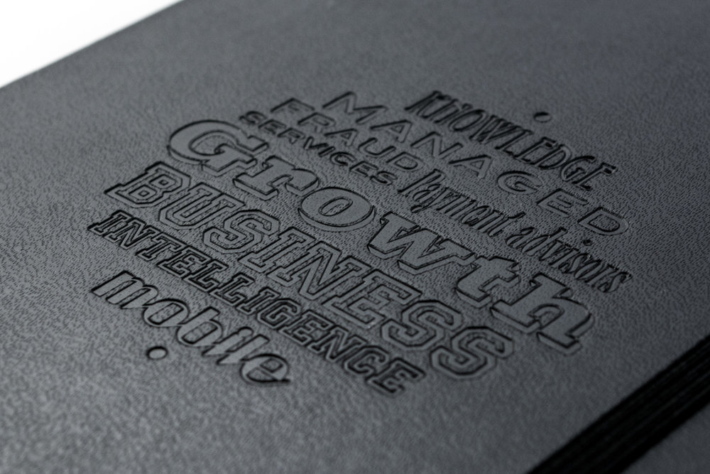 Blind embossed Moleskine notebook