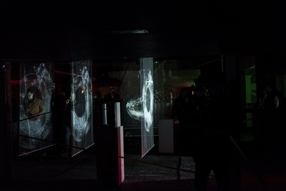 Presented as series of digital immersive experiences, LO 1.0 was an experimental virtual reality and real time projection installation. The work, based on low frequency techno soundscapes waveforms generated a sensory environment of graphical form and sonic sculptures. -