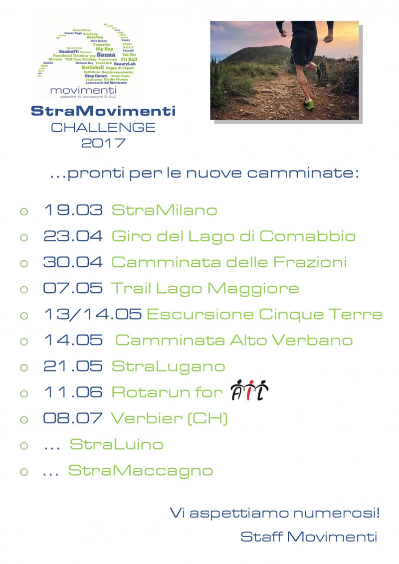 StraMovimenti Challange 2017 - Calendario nuove camminate