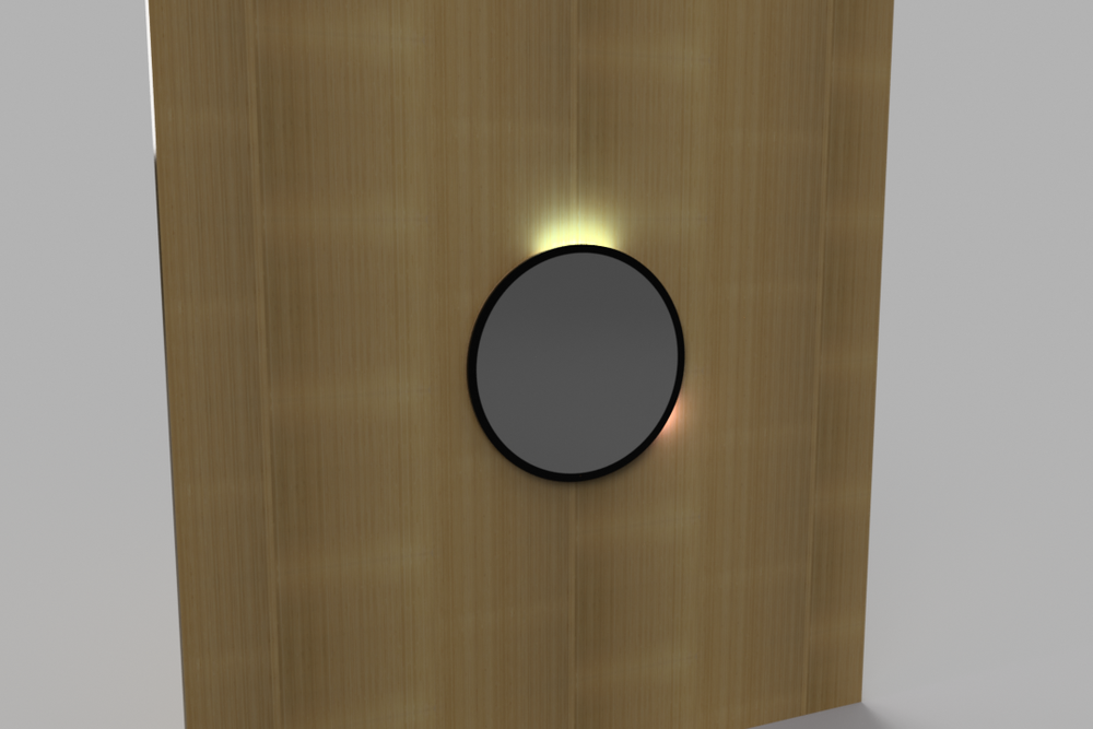 Concept render of Mirror Clock, displaying 12:20. Large white bar represents hour, smaller orange bar representing minutes