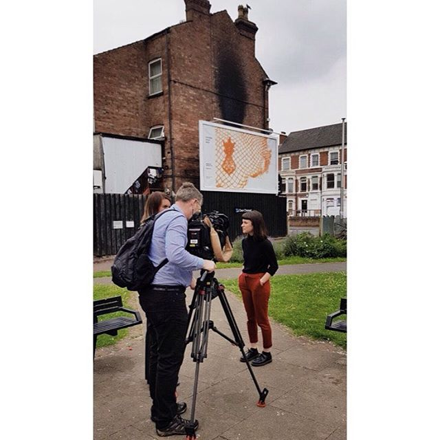 Catch my mug on BBC East Midlands breakfast show tomorrow morning to hear more about @cvaneastmidlands #InAnotherPlace. Full story on the evening news including thoughts on #theomiller billboard #leicester #BBCEastMidlands #news #inanotherplace #ukyoungartists #citytakeover #extraordinaryart #ordinaryplaces #nottingham #lace #sitespecific