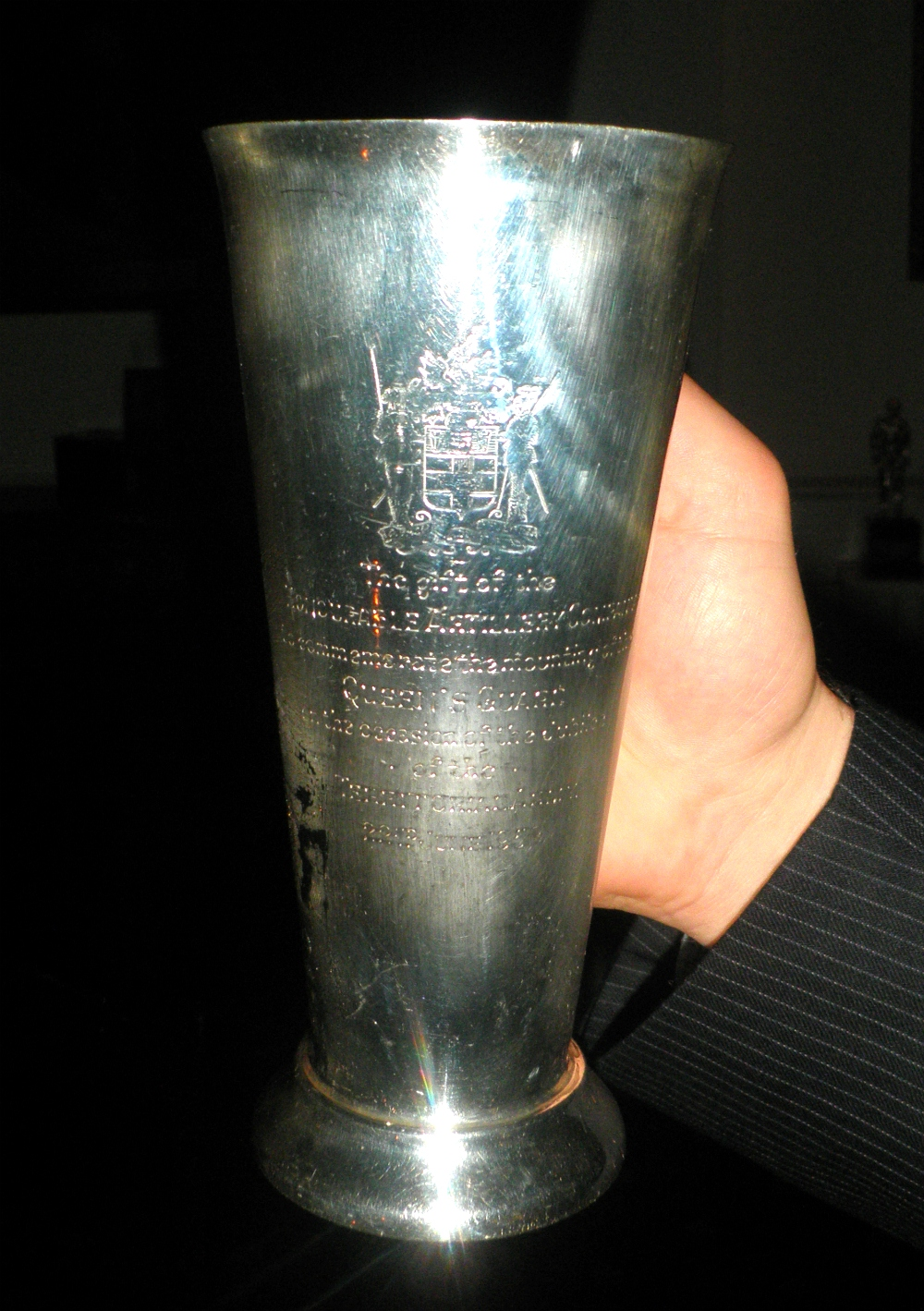 Silver goblet presented by the Honourable Artillery Company on the occasion of a Queen's Guard it mounted in 1958