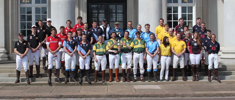 The Polo Teams of Martyn Bebbington Memorial Trophy Tournament on the Steps of Cranwell College