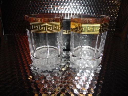 6514595c02ec Versace Rosenthal Crystal Pair Glasses Whisky Glases Medusa D or — BGGear