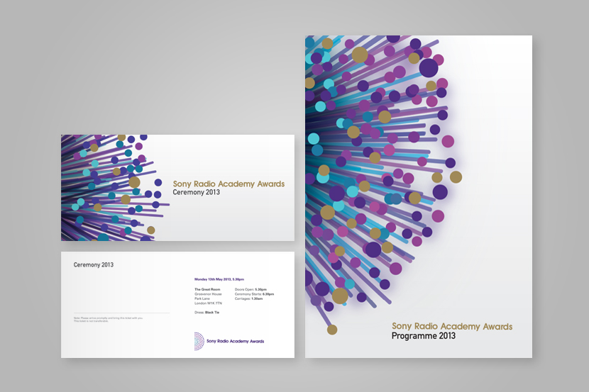 Front cover designs ofSony Radio Academy Awards programme and Invites