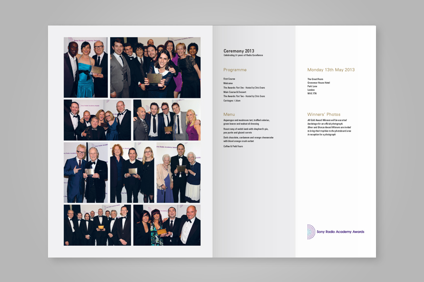 Inside page layoutofSony Radio Academy Awards programme Introduction page