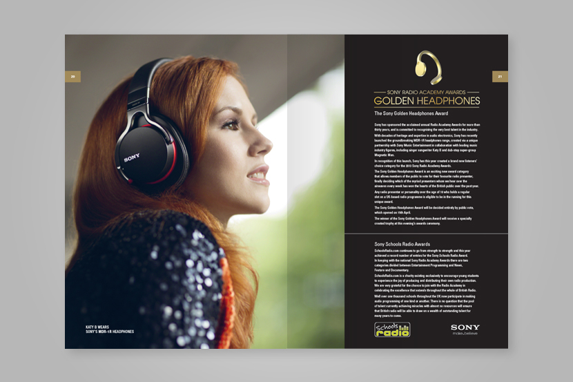 Showcase of programme booklet spread of Golden Headphones advertisement page