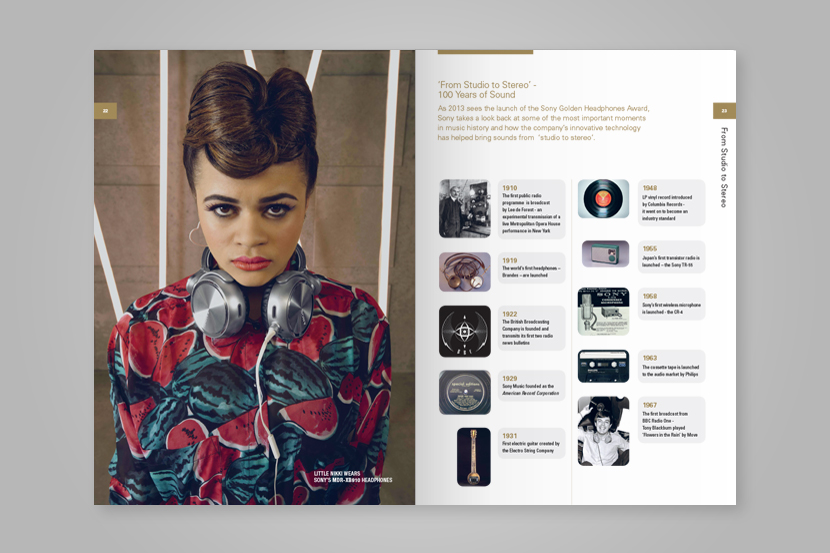 Double page spreadof woman wearing headphones and griddedpage layout