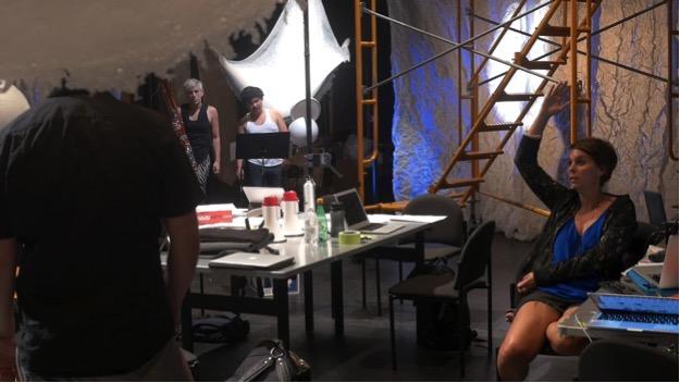 Photo: Ashley Fure with  The Force of Things  team: Ross Karre, Levy Lorenzo, Rebekah Heller, Alice Teyssier, Lucy Dhegrae, Ryan Muncy, Kivie Cahn-Lipman, Nick Houfek. Abrons Arts Center