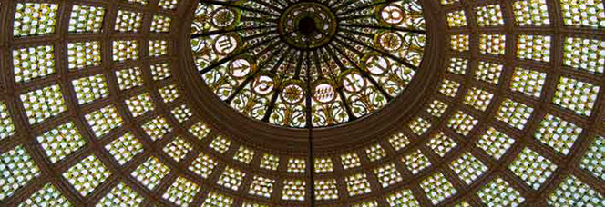 The Louis Comfort Tiffany stained glass dome in Preston Bradley Hall at Chicago Cultural Center