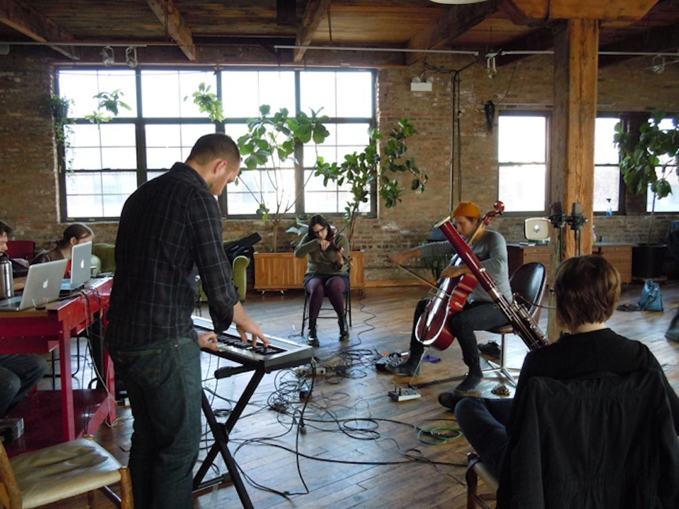ICElab composer Dan Dehaan on keyboard with his Sound Room collaborators.
