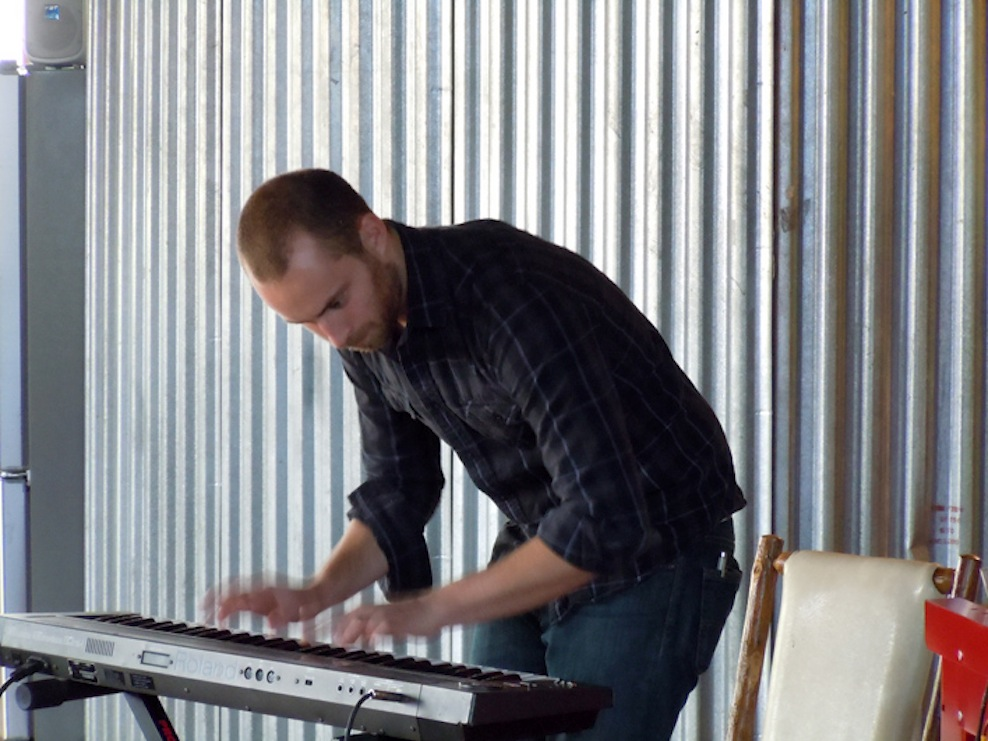 ICElab composer Dan Dehaan playing electronic keyboard for a Sound Room improvisation session