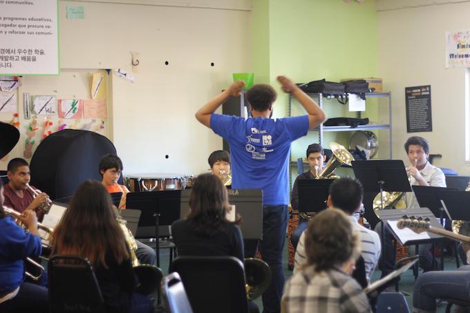 YOLA brass with maestro David Byrd-Marrow.