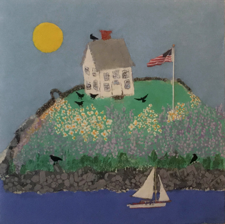 Diane_linscot_House_Stories-Castine-Spring-With Blackbirds_30x30_encausticoncanvas.jpg