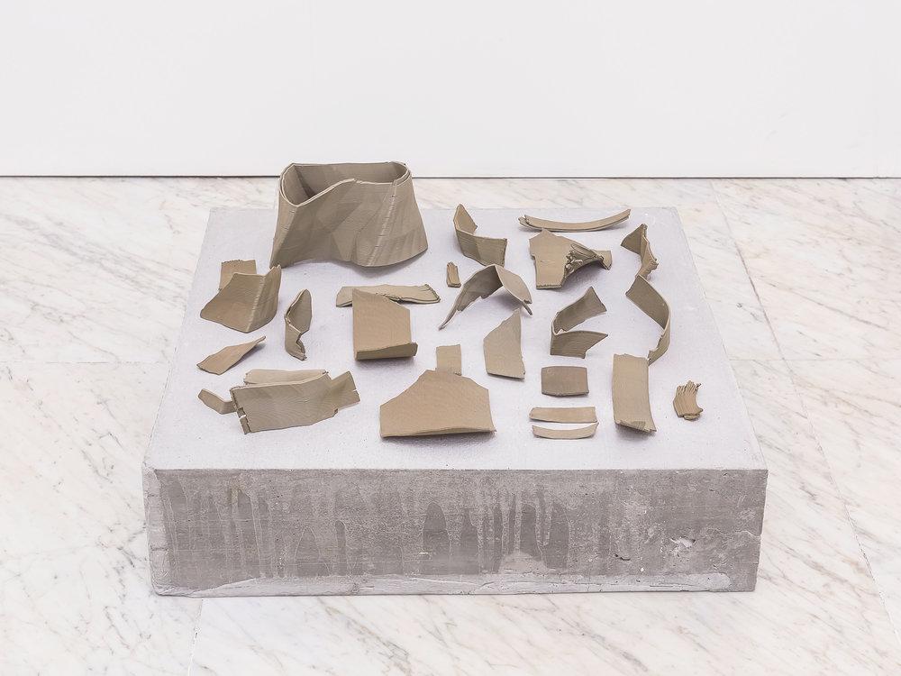 Excavata , 3D printed earthenware, concrete, calcium carbonate plinth, 60x60x40cm, Carrara 2016
