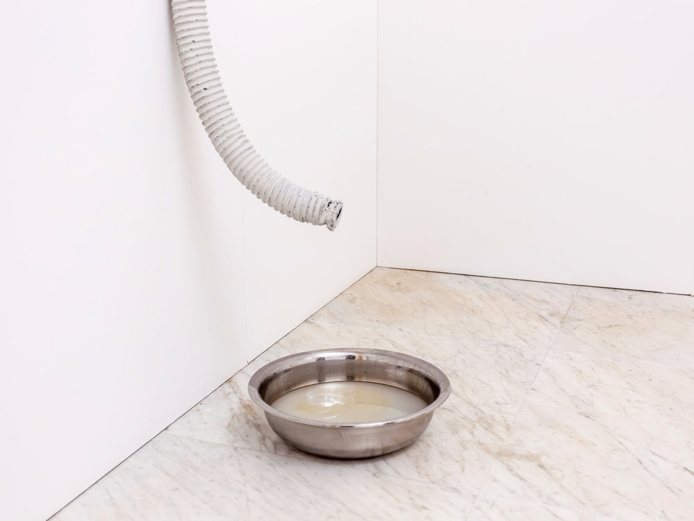 Excavata , Calcium carbonate and concrete pipe, lubricant oil, metal basin, 180x15x15cm - Carrara 2016