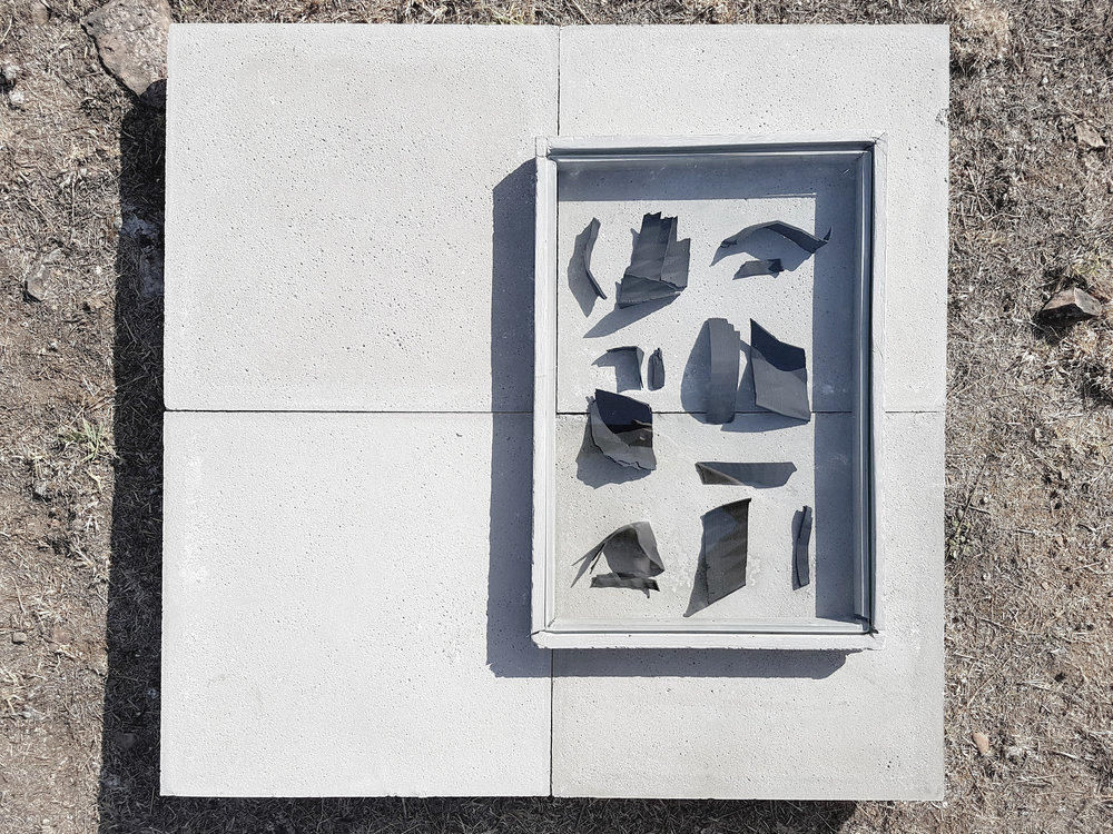 "Cloud  /  native , ""Bucchero"" on 3D printed ceramic fragments, cement"