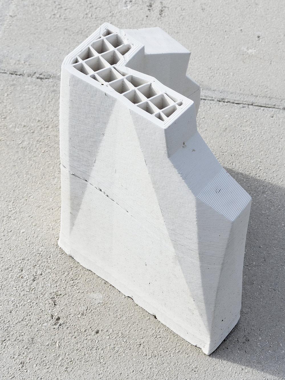 Cloud/native (Excavata II) , 3D printed ceramic replica, cement