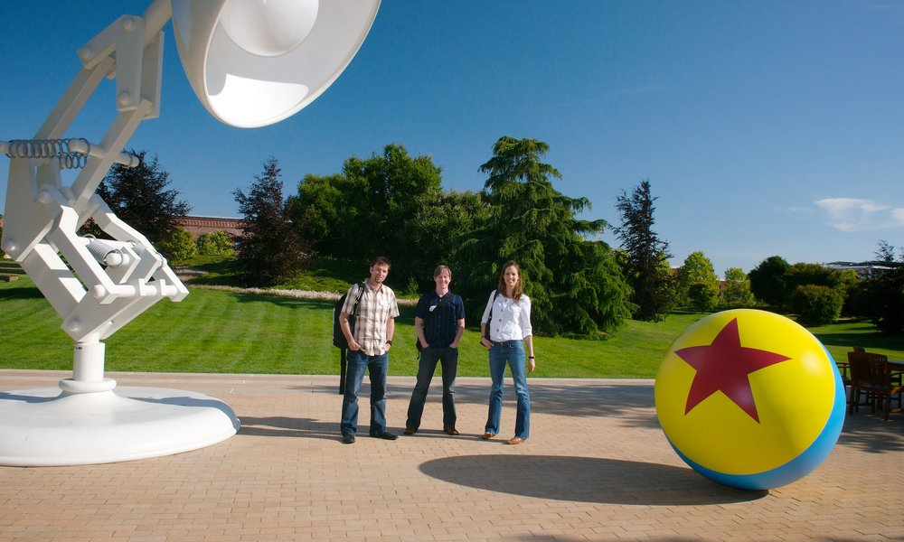 On location at Pixar headquarters in Emeryville, CA. Gathering materials for the book   The Pixar Treasures  .