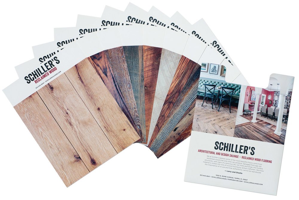 Schiller's needed more than a brochure to show off the potential for their reclaimed wood flooring. Recognized for excellence in design and print production by the Printing Association of Florida, 2016 awards, this piece features 10 large removable cards that allow clients to visualize what different woods and treatments will look like. Todd did both the design and photography.