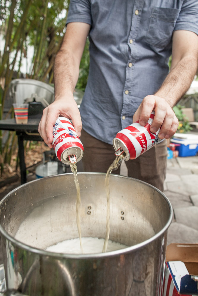 A case of cheap beer makes for a tasty boil.