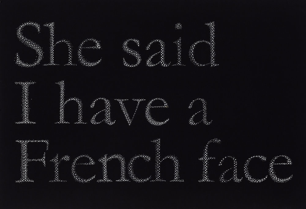 "She said I have a French face, hand hole-punched paper, 30"" x 44"", 2013  photograph by Guy L'Heureux"