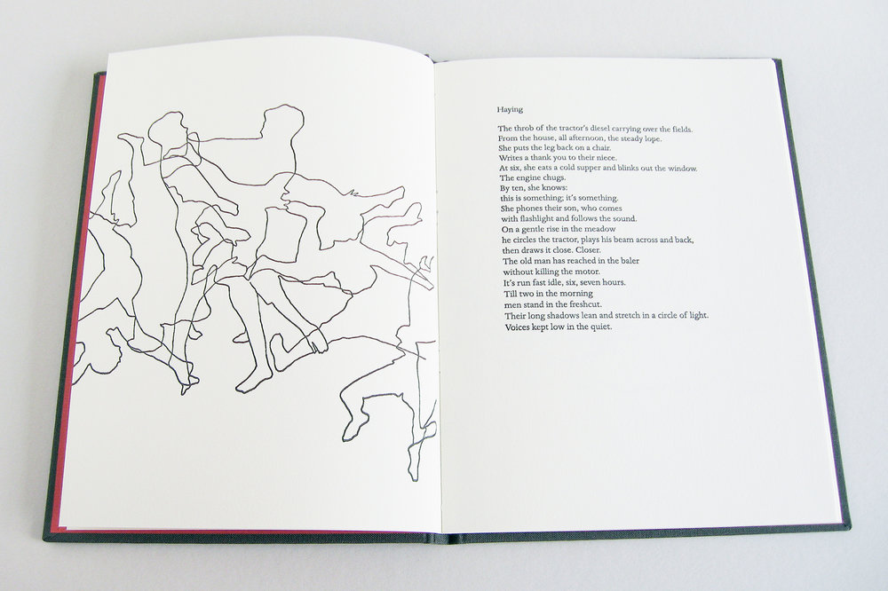 Wrestle   Poems by Nick Norwood, images by Erika Adams  2007  This collaborative book of poems and images, is printed in Dante from polymer plates made by boxcar press in Syracuse, NY, on Somerset book wove paper. Bound and stamped by Campbell-Logan Bindery in Minneapolis, Minnesota. Design, presswork and images by Erika Adams.  8 x 6 inches, 24 pages, edition of fifty.