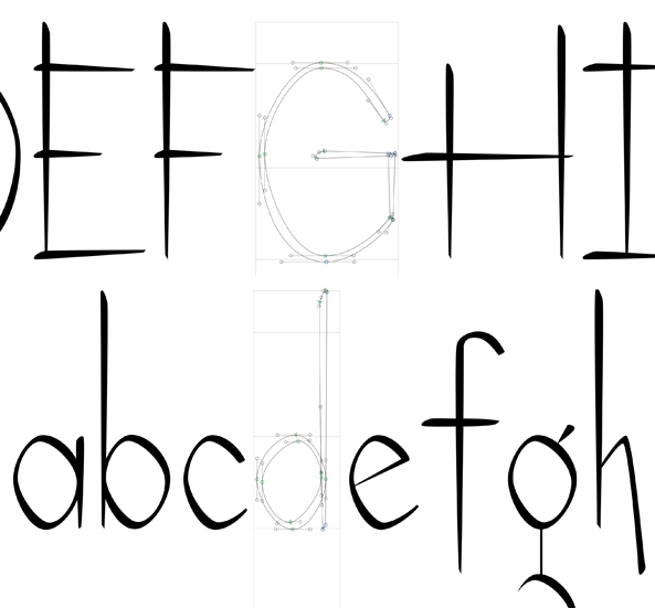 Sneak peek of the font in development by Studio Haus using Illustrator and Glyphs software.