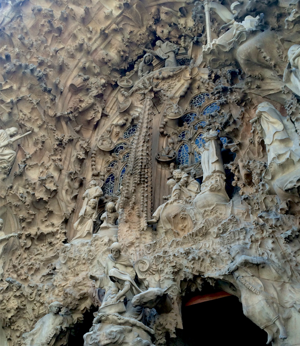 IMAGE: Detail of La Sagrada Familia's Nativity facade. Note the use of typography.