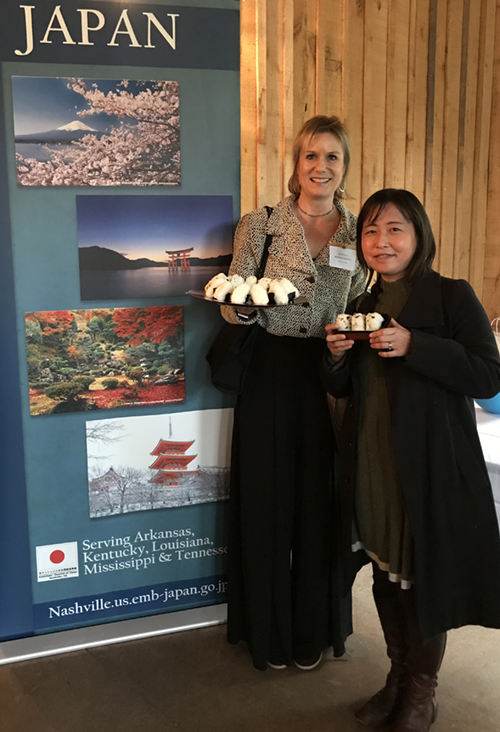 Mayumi Uejima-Carr , President of  Table for Two USA , sharing the craft of making onigiri and how it is helping to feed those living in poverty.