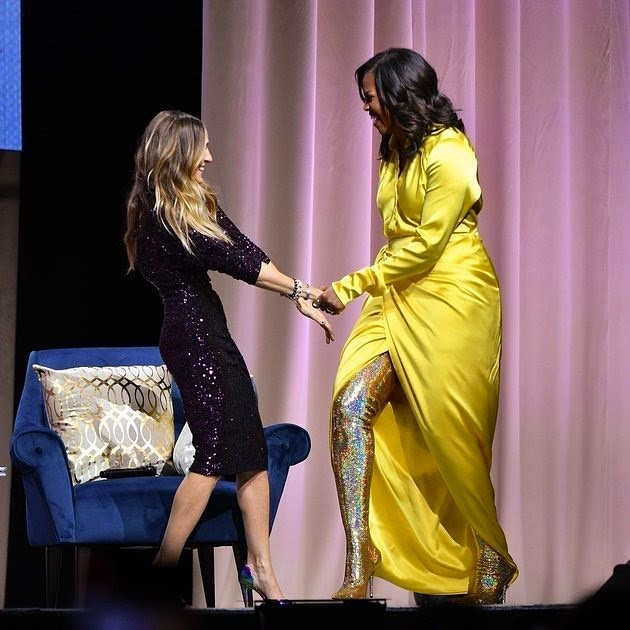 yes yes yes 👏 @michelleobama stomping all over the patriarchy in gold glitter thigh-high boots is the change we need in 2019 💛 #newyearnewvibes #smashthepatriarchy #blackgirlmagic #michelleobama2020