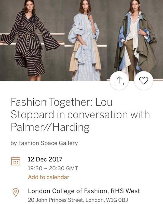 EVENT ALERT!  Who is around London on Tuesday and free?✨ Join Lou Stoppard in conversation with Levi Palmer and Matthew Harding of palmer//harding at London College of Fashion. This event coincides with Lou Stoppard's show, Fashion Together at Fashion Space Gallery. The talk will be followed by a short Q&A session.  The exhibition spotlights the process and output of seven selected duos and showcases the work of individuals from a broad range of roles within the fashion industry, from photographers and filmmakers to designers and milliners. It features collaborations by: Rick Owens and Michèle Lamy, Nick Knight and Daphne Guinness, Shaun Leane and Alexander McQueen, Viktor Horsting and Rolf Snoeren, Inez van Lamsweerde and Vinoodh Matadin, Gareth Pugh and Ruth Hogben, and Thom Browne and Stephen Jones. The exhibition times with the release of Lou's book, 'Fashion Together: Fashion's Most Extraordinary Duos on the Art of Collaboration', published by Rizzoli.  The exhibition will be open to the public until 7:30pm on the day.  https://www.eventbrite.co.uk/e/fashion-together-lou-stoppard-in-conversation-with-palmerharding-tickets-40936261460?aff=es2
