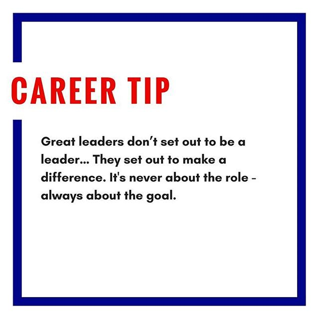 Sunday career tip!  Leaders aim to make a difference, not only in the company, but also in people's everyday lives.