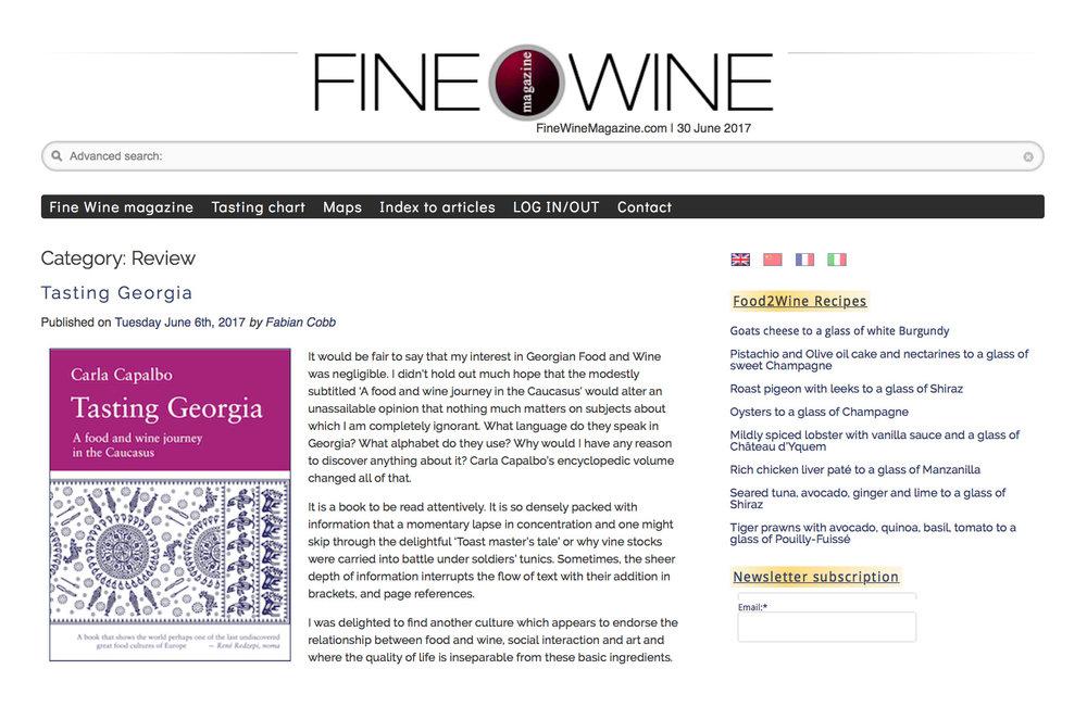 2017-06 Fine Wine Magazine Tasting Georgia