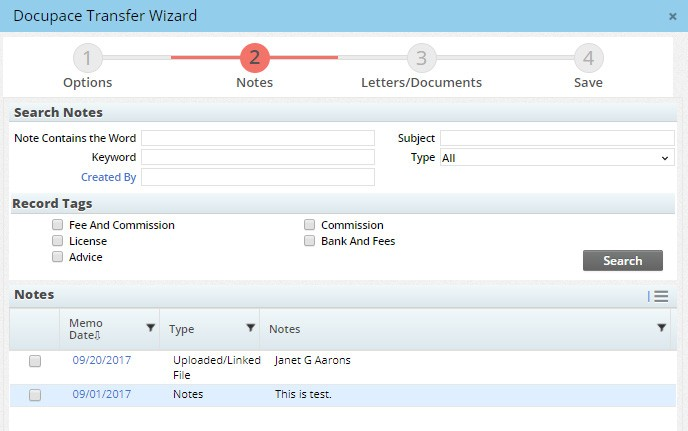 Step 2 - Let the wizard guide you through the process of selecting the content you want to send to the client's Docupace folder.