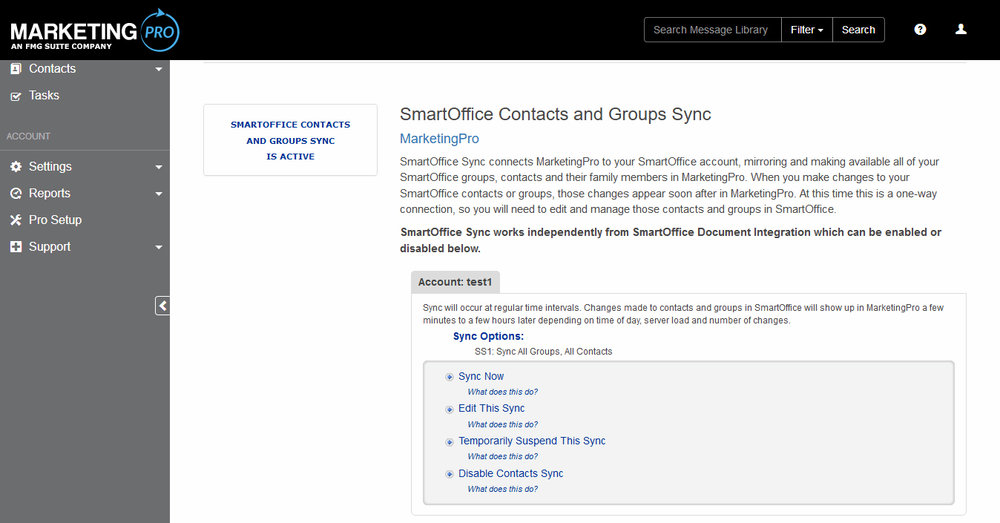 - Control the synchronization of your SmartOffice contacts and sets using MarketingPro's sync settings page.