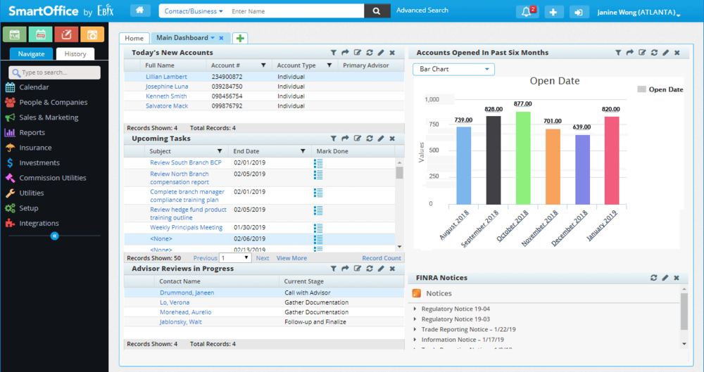 Dynamic Reports   A fully customizable reporting system that gives you real-time insights into advisor activities, tasks you need to complete, and other aspects of your business that you need to stay on top of.