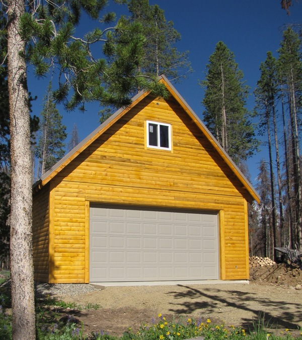 This 24x24 garage with insulated second story used our beetle-kill lumber and beetle-kill siding from another vendor.