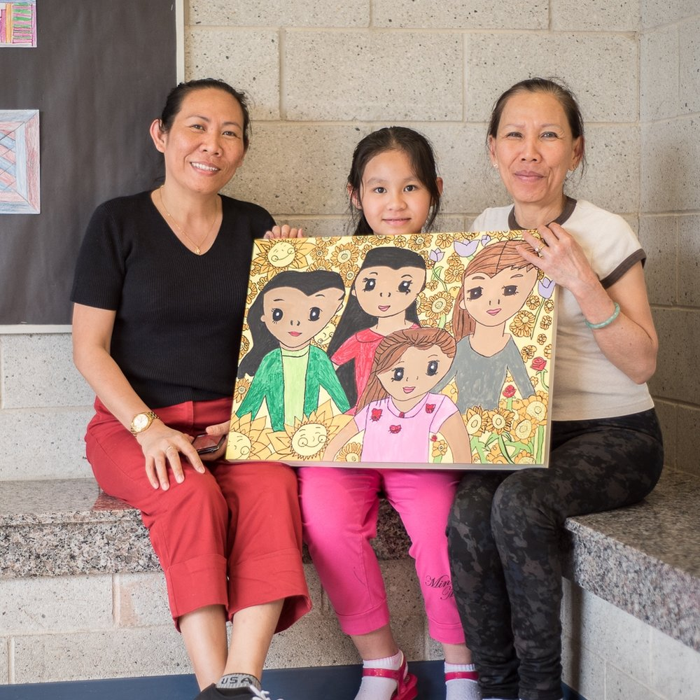 Third Grade student with her mom and aunt.