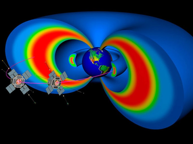 Two doughnut-shaped regions of high-energy particles make up the Van Allen radiation belts. Credit: NASA