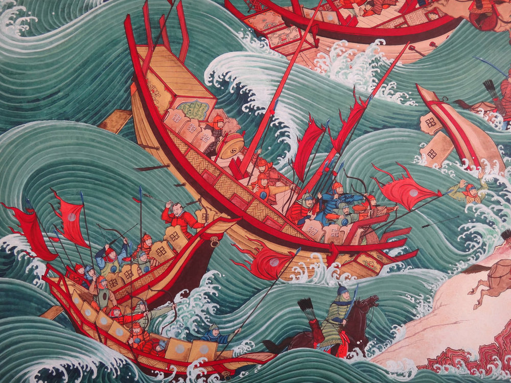 Kublai Khan and his men at sea