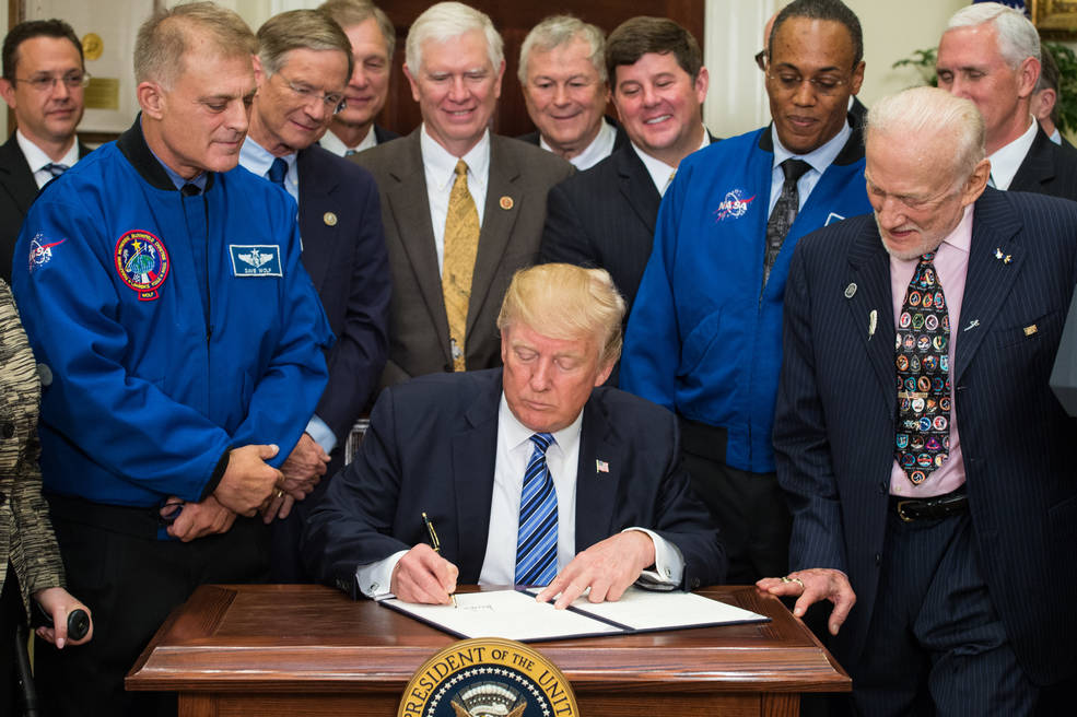 NASA | President Donald Trump signs an Executive Order to reestablish the National Space Council, Friday, June 30, 2017.