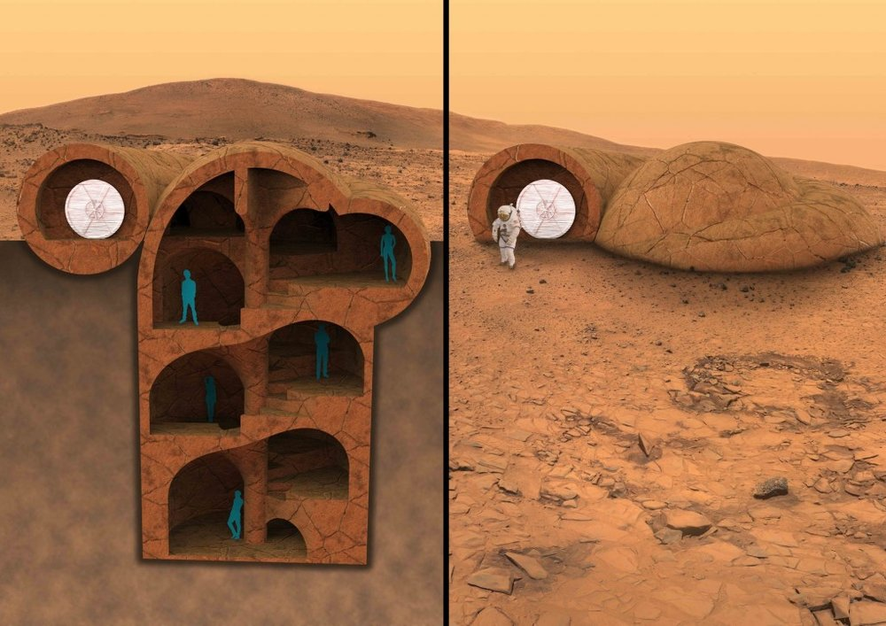 The RedWorks habitat design argues for building down, rather than up for life on Mars. Courtesy of RedWorks.