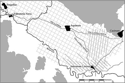 Urban settlement, road network and field systems in the ancient Liri Valley (dark grey = areas over 200 m ASML)