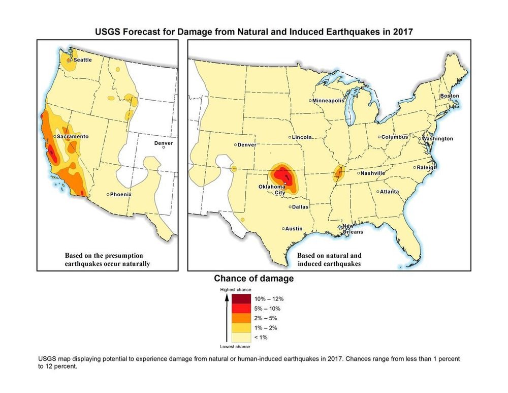 US Geological Survey map of natural and induced earthquake risk in 2017.