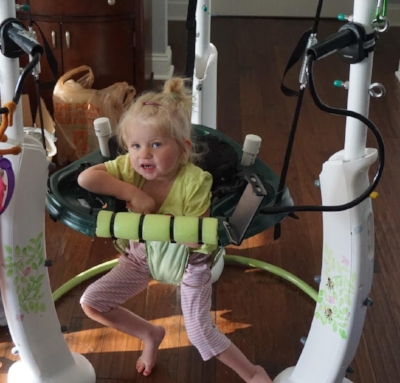 Morgan's Bouncer - What do parents do when they cannot find a bouncer the correct size for their 3.5-year old daughter? Reach out to V-LINC! Students at Harford Community College adapted a bouncer for Morgan so that she can have the leg extension, exercise, and just