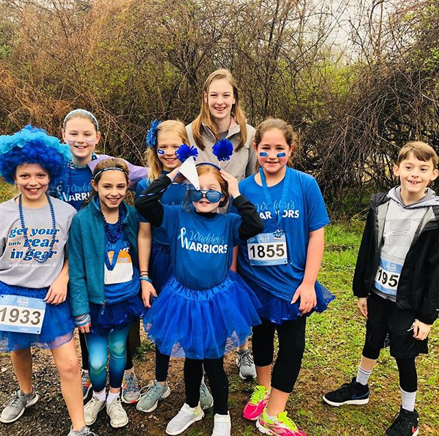 "Wet weather did not deter these sweet kiddos (and hundreds of others) from ""getting their little rears in gear"" to support the Waddey's and the Colon Cancer Coalition!! 💙💙💙 What an awesome day!!! #waddeyswarriors #getourrearingear #getyourlittlerearingear #welovethewaddeys #checkyour:"