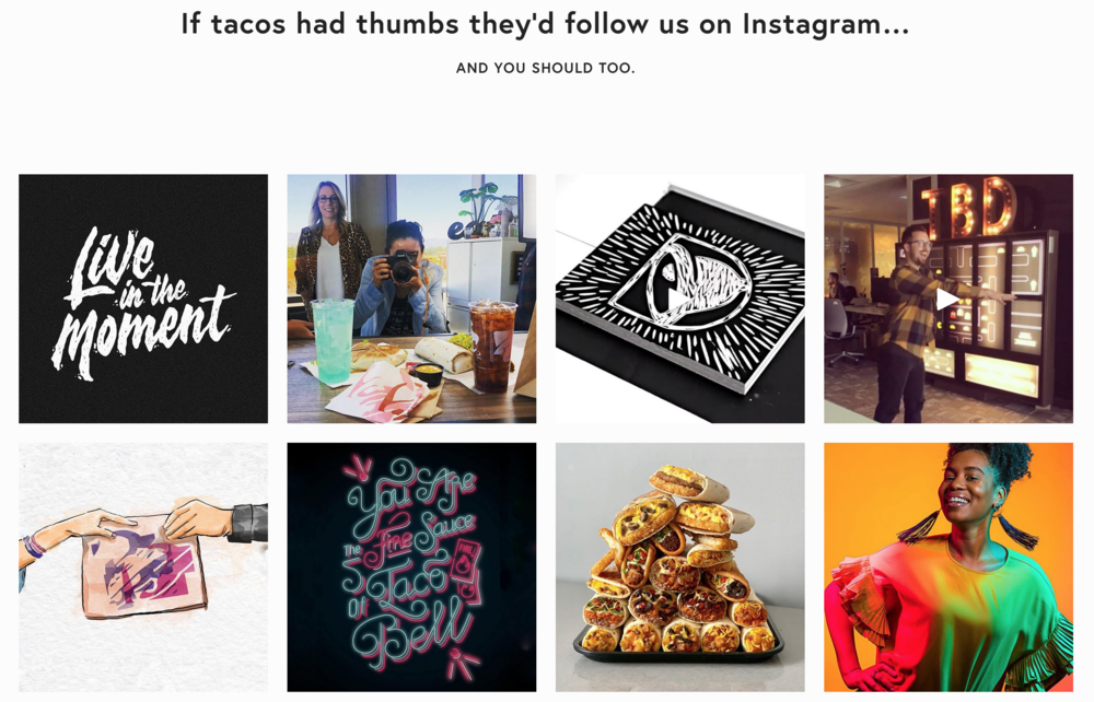 Taco Bell Design's Instagram feed as integrated on the tacobell.design site