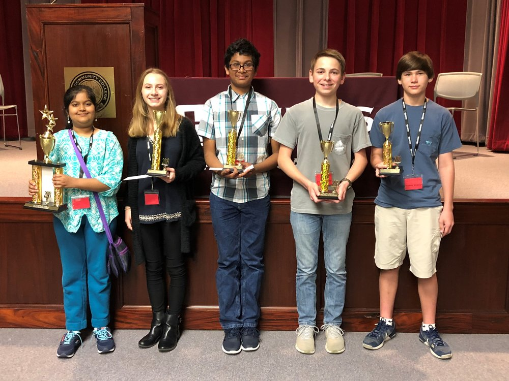 8th Grade Winners - 1st, Shreenithi Lakshminarayanan, Germantown Middle School2nd, Sarah LeRoux, Madison Middle School3rd, Akshathh Mukkera, Tupelo Middle School4th, George Davis, Corinth Middle School5th, Thomas Wasson, Jackson Preparatory School