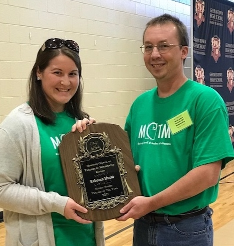 Rebecca Hurst, mathematics teacher at Madison County School District's Olde Towne Middle School, was awarded the 2017 Teacher of the Year for Middle School.                                                                                                   Pictured: Rebecca Hurst (Left) and Brad Johns (Right)